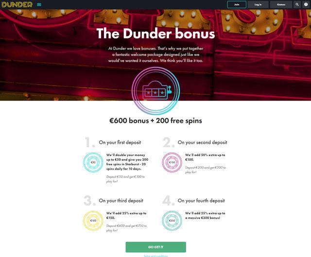 Dunder Casino Bonus Vorschau