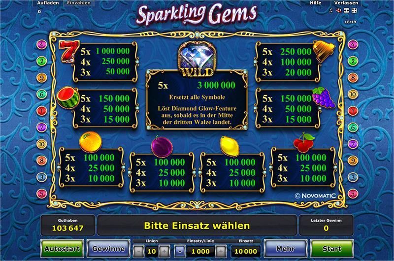 sparkling gems spielen